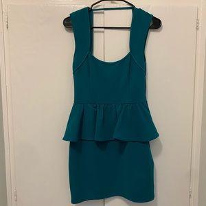 Turquoise Peplum Dress